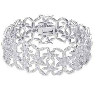 Samantha Stone Sterling Silver Cubic Zirconia Flower Vine Bracelet