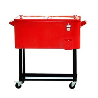 HIO 73-quart Outdoor Patio Cooler Table On Wheels, Rolling Cooler With Shelf, Red