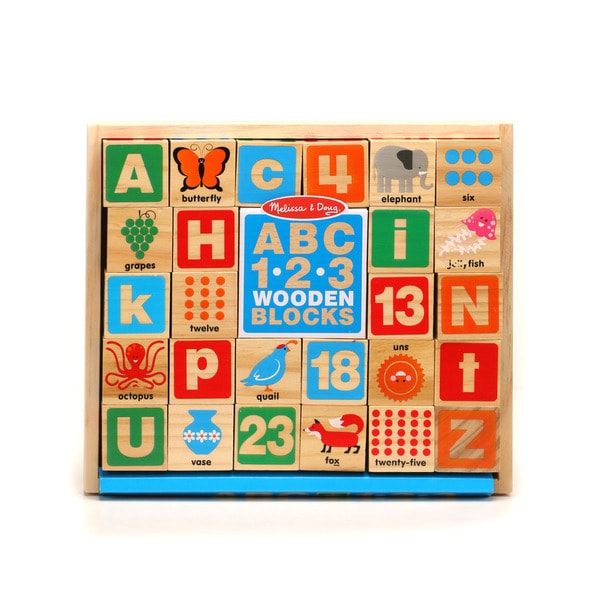 Melissa & Doug ABC/123 Wooden Blocks - multi