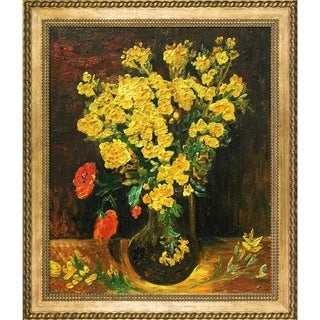 Vincent Van Gogh 'Vase with Viscaria (Poppy Flowers)' Hand Painted Framed Canvas Art