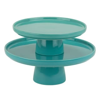 Whittier Turquoise Porcelain 8-inch And 10-inch Cake Stand Set