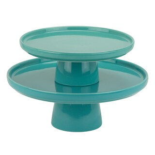 10 Strawberry Street Whittier Turquoise Porcelain 8-inch And 10-inch Cake Stand Set
