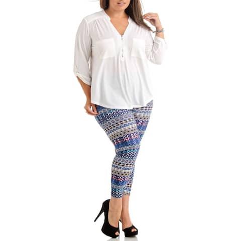 Women's Plus-size Multicolored Print Nylon Spandex Legging