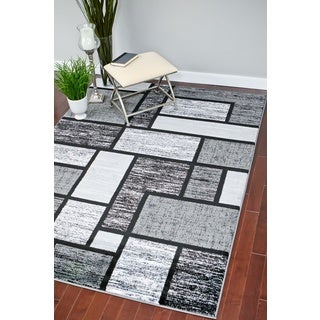 Persian Rugs Modern Trendz Grey/Black Polypropylene Area Rug (4'0 x 5'3)