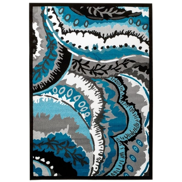 Shop Persian Rugs Turquoise White Black Area Rug 5 2 X 7