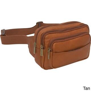 LeDonne Leather Four-compartment Leather Waist Bag (Option: Beige)
