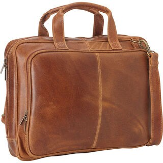 LeDonne Brown Distressed Leather Laptop Brief