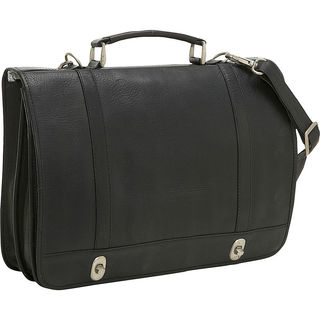 LeDonne Twist Lock Flap-over Leather Briefcase