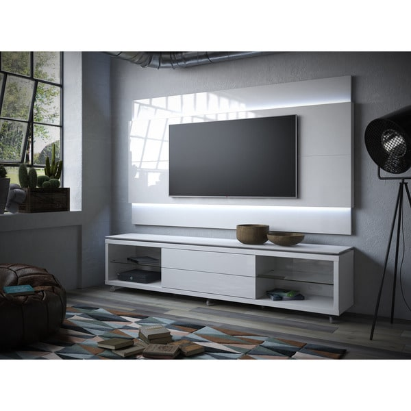 Manhattan Comfort Lincoln Tv Stand With Silicon Casters And Floating Wall Panel Led