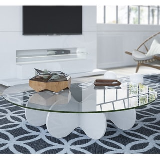 Manhattan Comfort Waverly 28-inch Round Glass Top Accent End Coffee Table
