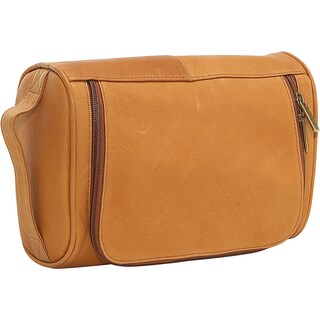 LeDonne Leather Vaqueta Black/Brown/Tan Leather Toiletry Bag