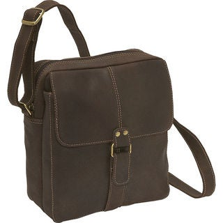 LeDonne Men's Chocolate Brown Distressed Leather Handcrafted Multi-compartment Bag