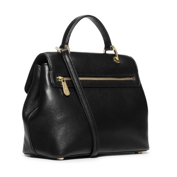 Michael Kors Emery Black Medium Pebbled-Leather Satchel Handbag ...