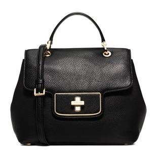 Michael Kors Emery Black Medium Pebbled-Leather Satchel Handbag