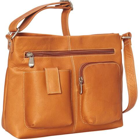 LeDonne Leather Two-pocket Leather Crossbody Handbag