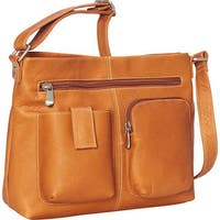 LeDonne Leather Two-pocket Leather Crossbody Handbag