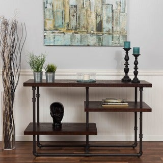 Somette Merlot Reclaimed Distressed 3-shelf Media Console