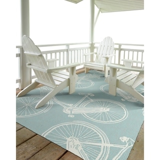 Indoor/Outdoor Beachcomber Bicycle Light Blue Rug (2'0 x 3'0)