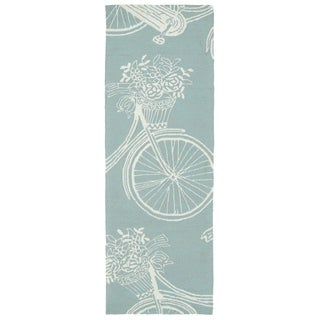 Indoor/Outdoor Beachcomber Bicycle Light Blue Rug (2'0 x 6'0)