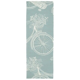 Indoor/Outdoor Beachcomber Bicycle Light Blue Rug (2'0 x 6'0) - 2' x 6'