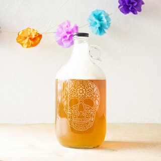 Sugar Skull Glass 64-ounce Craft Beer Growler