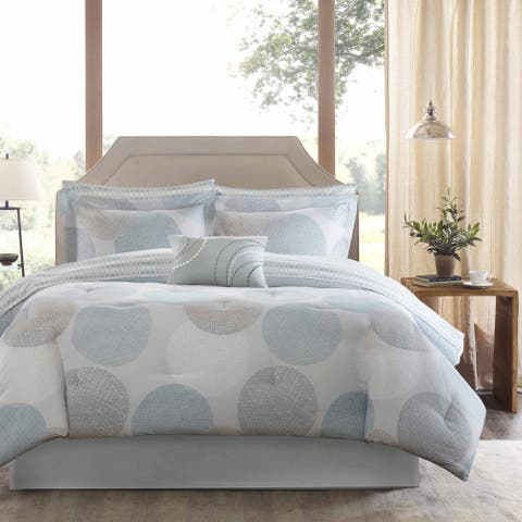 Madison Park Essentials Covina Aqua Complete Comforter and Cotton Sheet Set