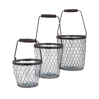 Trisha Yearwood Honey Bee Glass Buckets - Set of 3