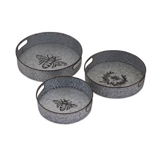 Trisha Yearwood Honey Bee Galvanized Trays - Set of 3