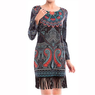 Kate Marie Women's Multicolor Polyester Native Style Long-sleeve Tassel Dress
