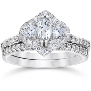 14k White Gold 1 3/4ct TDW 3-Stone Halo Clarity Enhanced Marquise Diamond Engagement Wedding Ring Se