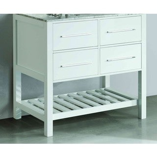 Bosconi White Wood/Metal 35-inch SB-250-3WHMC Main Vanity cabinet