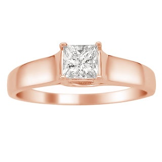 Montebello Jewelry 14k Rose Gold 1/4ct TDW Princess-cut White Diamond Solitaire Engagement Ring