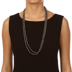 DaVonna Cultured FW Black Pearl 64-inch Endless Necklace (6-7 mm) - Thumbnail 2
