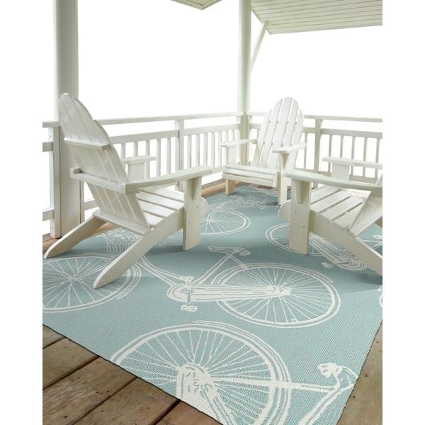 Indoor/Outdoor Beachcomber Bicycle Light Blue Rug - 7'6 x 9'