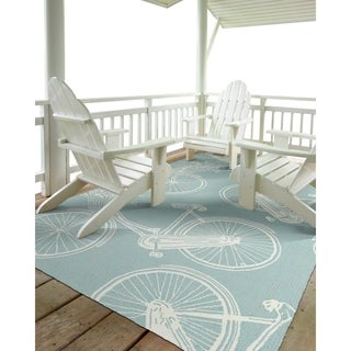 "Indoor/Outdoor Beachcomber Bicycle Light Blue Rug (7'6"" x 9'0)"