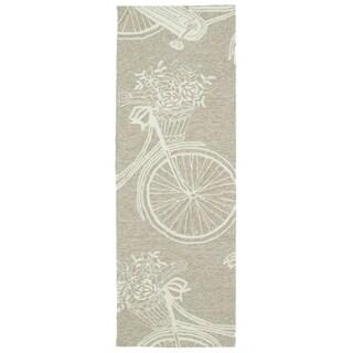 Indoor/Outdoor Beachcomber Bicycle Light Brown Rug (2' x 6')