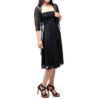Evanese Women's Two Piece Dress with Inverted Pleats, See Through Empire Waist and 3/4 Sleeves Shrug Size Small(As Is Item)
