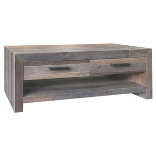 Kosas Home Oscar Distressed Charcoal Handcrafted Recovered Shipping Pallets 2-drawer Coffee Table