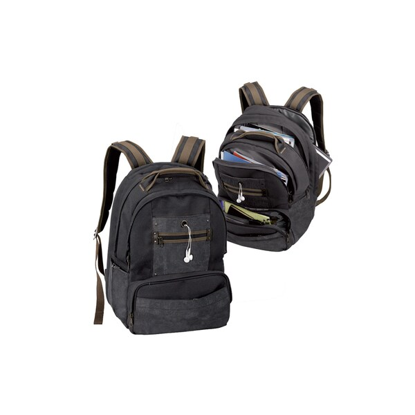 Goodhope Black Canvas Laptop Backpack. Opens flyout.