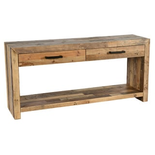 Kosas Home Handcrafted Oscar Distressed Charcoal Recovered Shipping Pallets 2-drawer Console Table