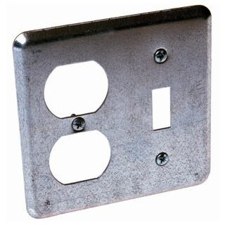 Raco Square Steel 2 gang Electrical Cover For 1 Toggle and 1 Duplex Gray