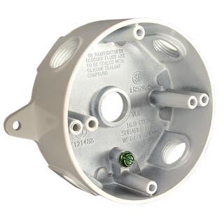 "Raco 5361-1 4"" White Die Cast Aluminum Round Splice Box|https://ak1.ostkcdn.com/images/products/11819567/P18725583.jpg?impolicy=medium"