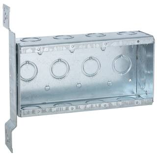 Raco 7-5/8 in. H Rectangle 4 Gang Outlet Box 1/2 in. Gray Steel|https://ak1.ostkcdn.com/images/products/11819581/P18725597.jpg?impolicy=medium