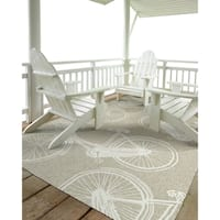 Indoor/Outdoor Beachcomber Bicycle Light Brown Rug - 7'6 x 9'