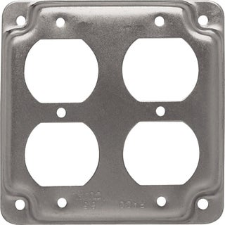 "Hubbell Raco 907C 4"" Square 2 Duplex Receptacles Box Cover"