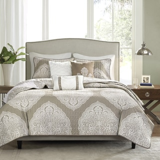 Madison Park Caroline Taupe Reversible 6-piece Coverlet Set