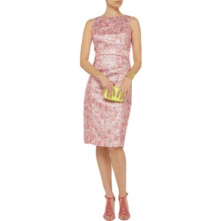 Badgley Mischka Women's Pink Acetate, Acrylic, Cotton and Polyester Metallic Dress