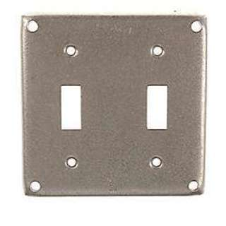 Raco Square Steel 2 gang Electrical Cover For 2 Toggle Switches Gray