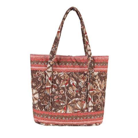 Sedona Women's Paisley Pattern Quilted Cotton Button-closure Tote Bag