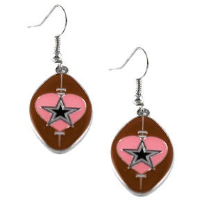 NFL Dallas Cowboys Sports Team Dangle Pink Heart Football Earring Set